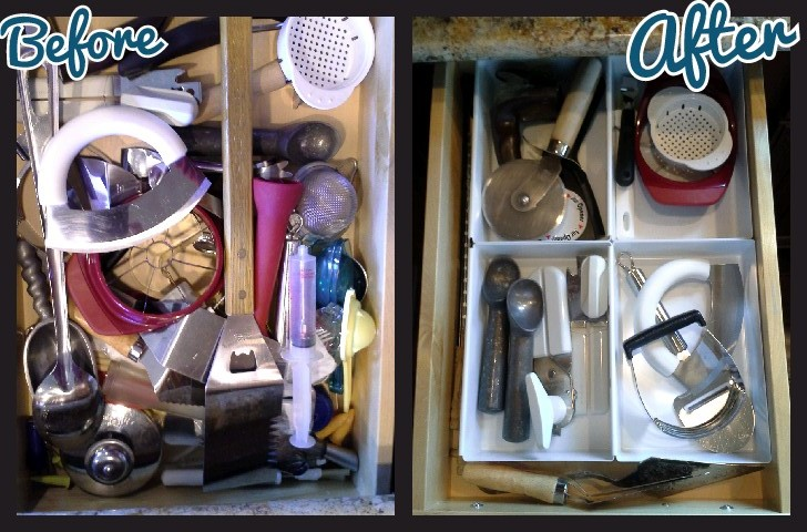professional organizer creates order in this kitchen drawer