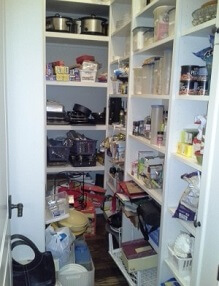 disorganized pantry with poor use of space