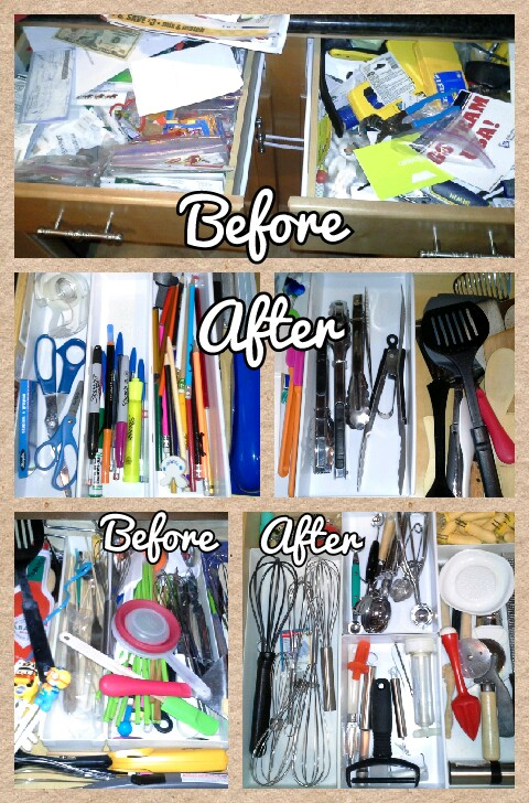 kitchen drawer & cabinets organization before & after pics