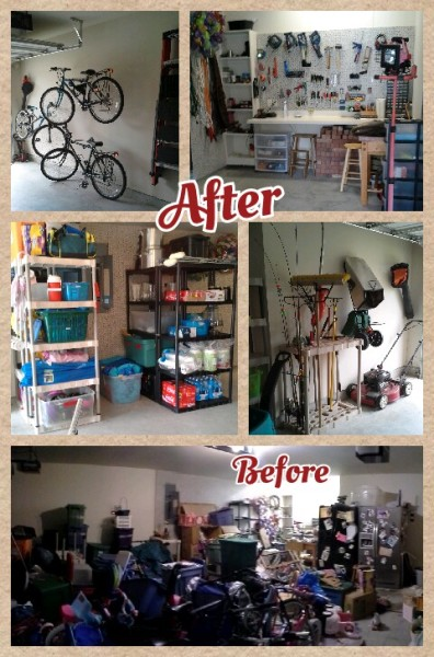 Garage organization is fully functional. Each area has a specific purpose.