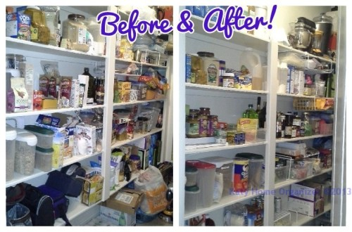 deep narrow pantry was organized with purging, sorting, and setting up zones