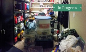 cluttered storage closets take time to organize, be patient with yourself