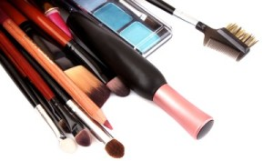 Organizing tips to declutter your bathroom include putting away your makeup.